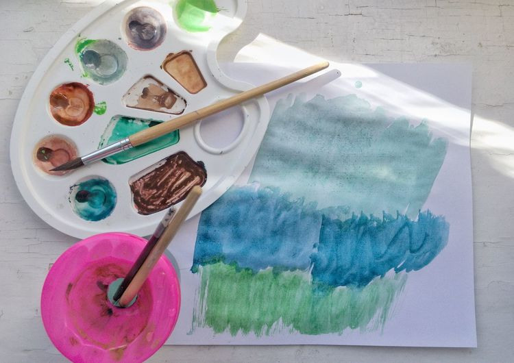 Painting Art And Craft High Angle View Creativity Still Life Craft Multi Colored Table No People Textile Knitting Needle Indoors  Wool Food Nature Variation Kitchen Utensil Directly Above Choice Blue Pastel Colored