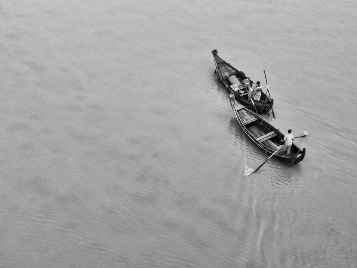 High Angle View Of Boats In Water