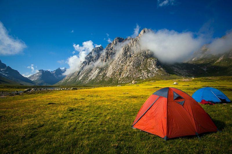 Campground on tibetan plateau
