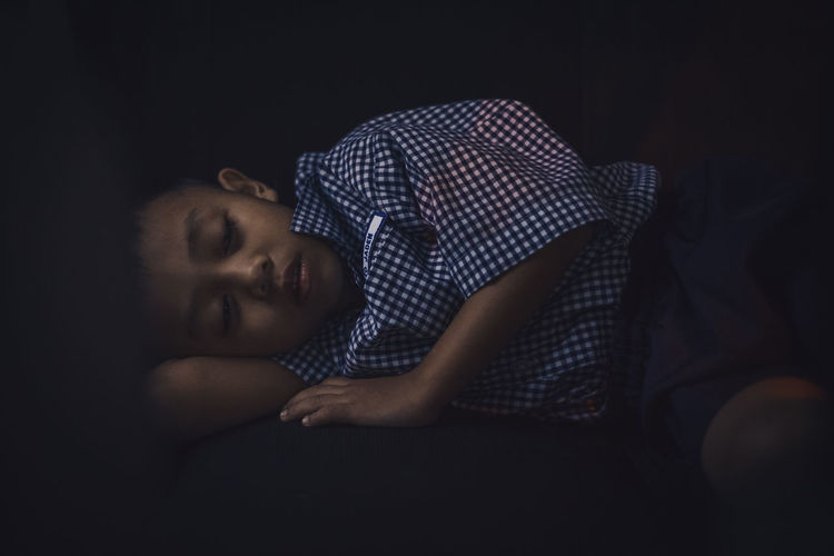 Still dreaming Children Child Children Photography Children's Portraits Sleeping Sleep Dreaming Dream Black Background Human Face Fashion Dark Close-up Fine Art Portrait Eyes Closed  Napping Laziness Visual Creativity