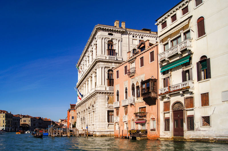 Canal Grande, Venice, Italy Palaces Venice, Italy Architecture Building Building Exterior Built Structure Canal Canals And Waterways City Clear Sky Day Nautical Vessel No People Outdoors Residential District Sky Transportation Travel Destinations Water Waterfront