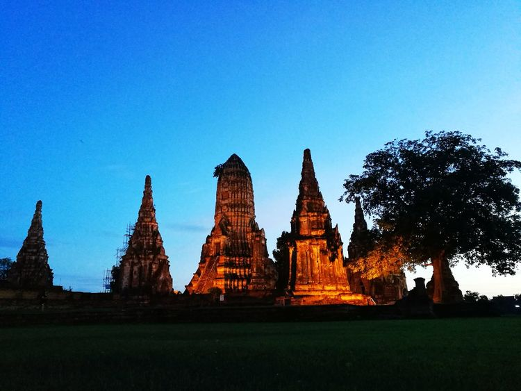 Architecture Business Finance And Industry Religion Travel Destinations History Spirituality Statue Ancient Civilization No People Old Buildings Wat Chaiwatthanaram Ayutthaya | Thailand Ayutthaya Temple - Building Cityscape Temple Outdoors Night Architecture Thailand