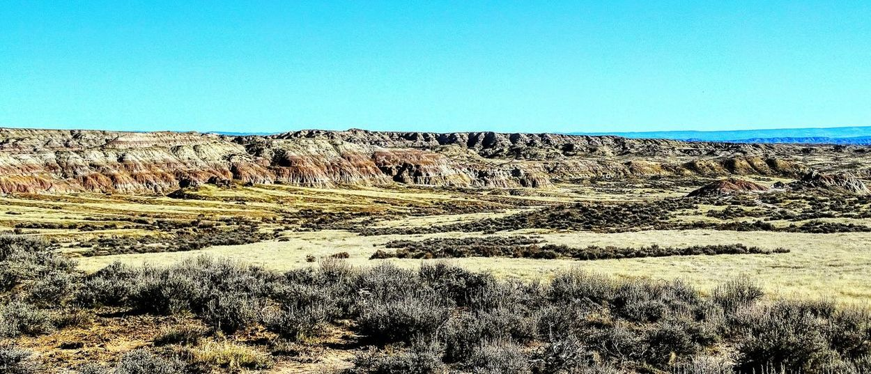 Clear Sky Nature Outdoors Scenics Rural Scene Sky Beauty In Nature Wyoming Worland WY Beauty In Nature Natural Pattern Tranquil Scene Tranquility Badlands Geology