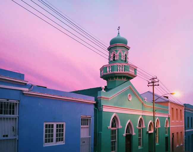 Arabic Architecture Bokaap Built Structure Cape Town Cloud Cloud - Sky Colorful Colorful Sky House Moschee Mosque No People Outdoors Pink Color Pink Sky Pray Sky South Africa Sunset Sunset_collection Turquoise
