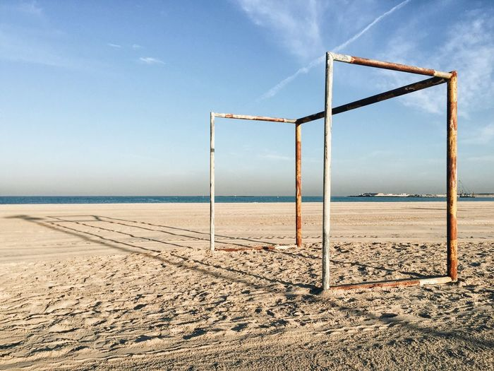 Soccer goal post on the beach. united arab emirates, dubai