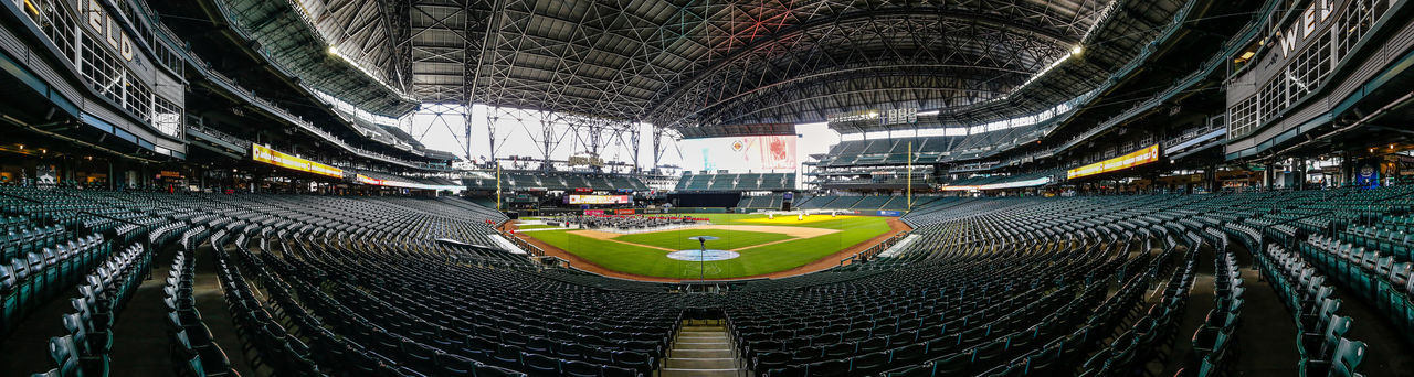 Architecture Banner Baseball Empty Field Indoors  Mariners Panorama Panoramic Safeco Safeco Field Safecofield Seats Seattle Sport Stadium Stadium Steel Steel Structure