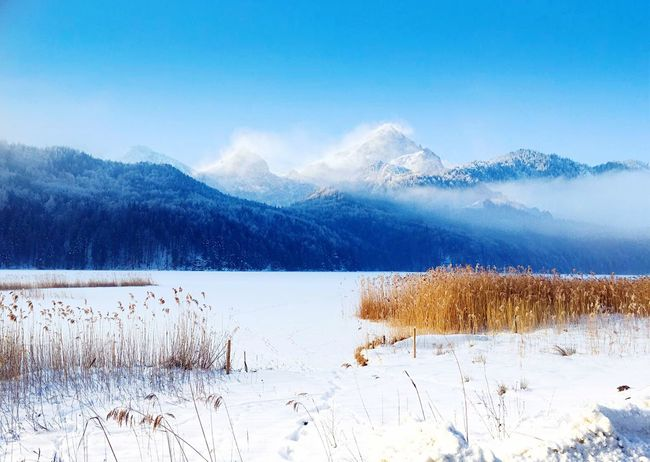 Snow Cold Temperature Winter Nature Beauty In Nature Tranquility Mountain Landscape Outdoors No People Day Sky Wintertime ⛄ My Point Of View Beauty In Nature Cold Winter ❄⛄ Weißensee Happy Winter Happy Weekend ✌️
