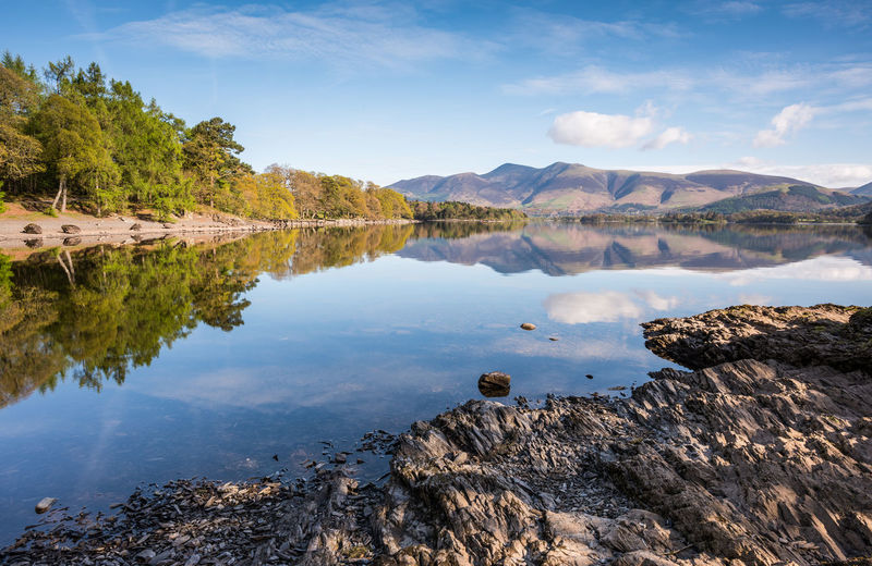 Reflections on Derwent Water in Cumbria Canvas Derwent Water Mirror Morning Weather Photography Beauty In Nature Cloud - Sky Colour Day Keswick Lake Mountain Nature No People Outdoors Reflection Rock - Object Scenics Seasons Sky Tourism Tranquil Scene Tranquility Tree Water