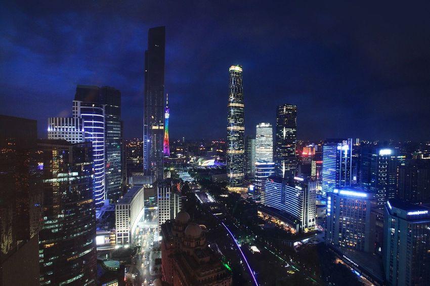 Vesperal Guangzhou Zhujiang New Town Guangzhou Night Scene China Canton Cityscapes Buildings & Sky City