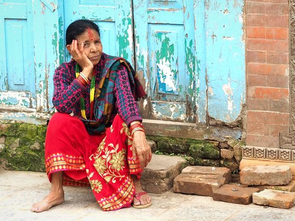 Traditional Clothing Outdoors One Person Only Women Senior Adult People Happiness Building Exterior Architecture Full Length Human Body Part Place Of Worship Close-up Nepali Culture Kathmandu Nepal Streetphoto Street Portrait