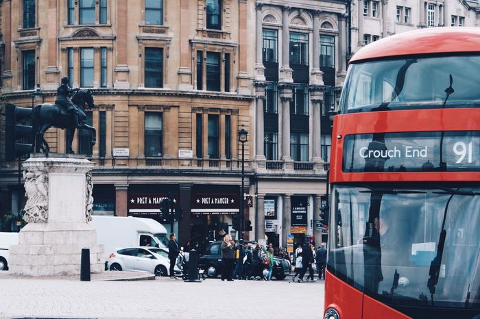 Architecture Building Exterior Statue Built Structure City Bus Incidental People Travel Destinations Tourism Travel Street Transportation Car Mode Of Transport City Life Day Outdoors Land Vehicle Sculpture Real People London Redbus EyeEm LOST IN London Postcode Postcards