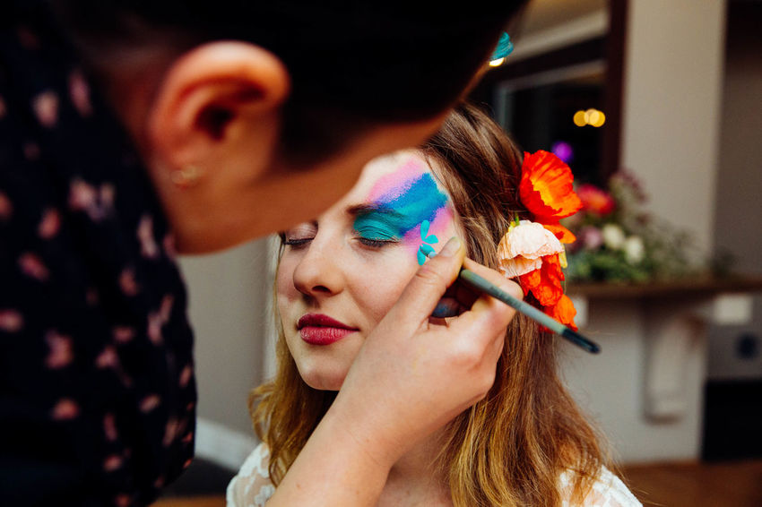 Beautiful Woman Birthday Party Bodyart Close-up Day Face Paint Face Painting Facepaint Flower Human Hand Indoors  Make-up One Person Real People Young Adult