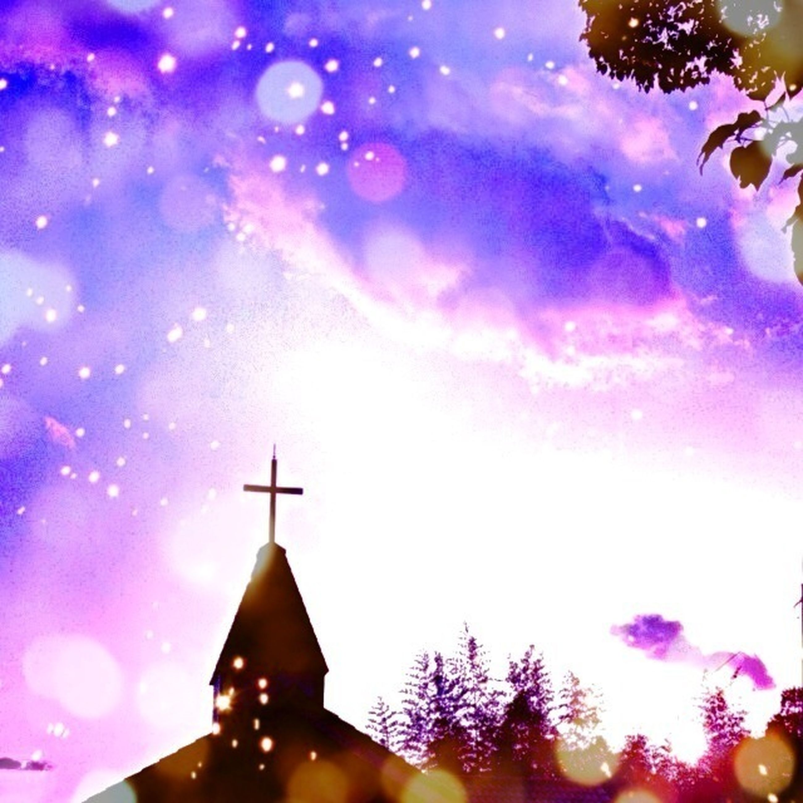 low angle view, illuminated, sky, religion, building exterior, architecture, built structure, place of worship, spirituality, celebration, tree, lighting equipment, church, night, cloud - sky, dusk, christmas, decoration