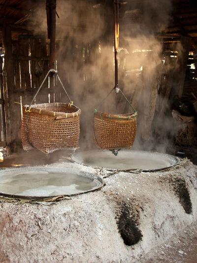 Baskets hanging at salt factory