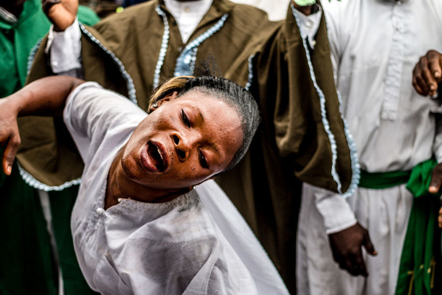 Adept dancing during a voodoo ceremony to celebrate his divinity Atingali | Ganvié, Southern, Benin Adept Africa Benin Celebrate Ceremony Culture Dancing Divinity Documentary Photography Photojournalism Portrait Portrait Of A Woman Religion South The Photojournalist - 2017 EyeEm Awards Tradition Voodoo Woman Young Women