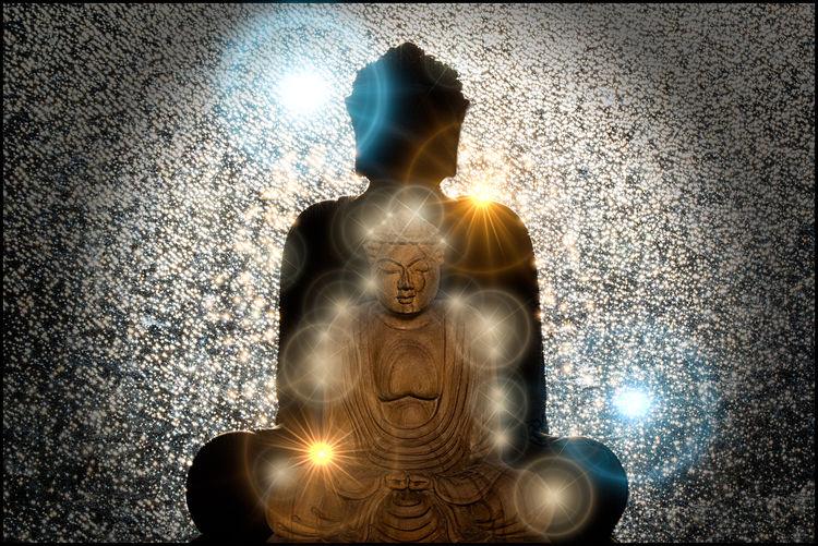 Buddha Buddhas Flares Gold Light Reflections Stature Sun Bathing White Wooden Buddha Wooden Statue