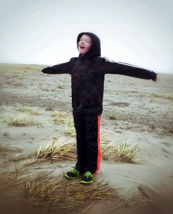 Enjoying the beach... Its cold and February! Beach Oregon Coast February Cold Out Stormy Windy Standing In The Wind Childhood My Son ❤ Taking Photos Perspective Photography Snapseed Enjoying Life