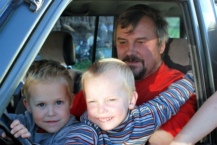Boys Car Child Day Driving Car Family Father Looking At Camera Outdoors Parent Portrait Smiling Togetherness Travel