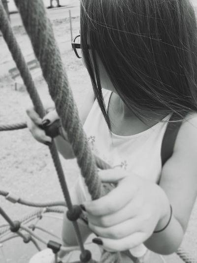 Childhood Real People One Person Girls Lifestyles Day Outdoors Sitting Close-up People Girl Woman Women Blurred Blurry Bokeh Candid Rope Blackandwhite Black And White Black & White International Women's Day 2019