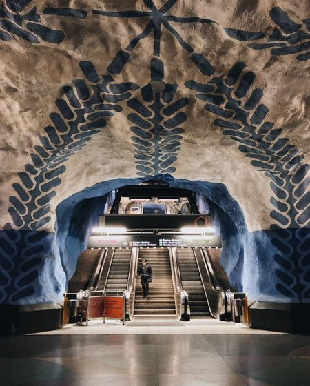 I traveled Denmark and Sweden last February and i was only shooting using my iPhone 8. Here's one of the photos i took of the Stockholm subway. This is the T-Centralen. IPhoneography Underground Trainphotography Train Sweden Stockholm Subway Technology No People Architecture High Angle View Transportation Day Built Structure The Street Photographer - 2018 EyeEm Awards