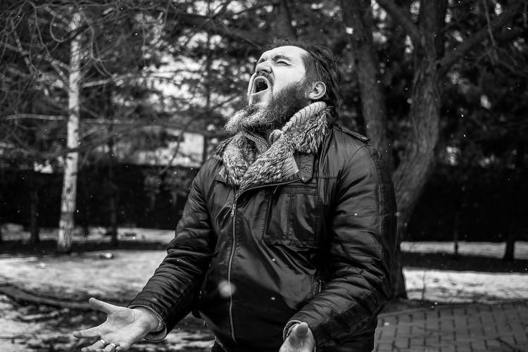 Man Screaming Outdoors