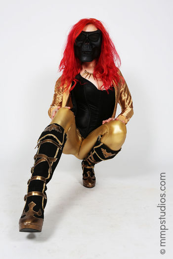 @melvinmaya @mmpstudios_com Beautiful Boots Houston Texas Blackandgold Fashion Followme Front View Gorgeous Mask Masked Model One Person Photographer Photography Portrait Redhair Skull Studio Shot White Background Young Adult