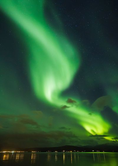Beam Me Up!   Beauty In Nature Night Aurora Polaris Nature Sky Scenics Star - Space Tranquility Outdoors Astronomy Green Color Idyllic No People Tranquil Scene Illuminated Constellation Space Galaxy EyeEm Masterclass EyeEm Gallery Norway Tromsø Nature Nature_collection Nature Photography