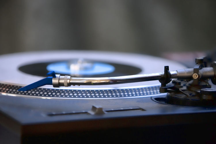Close-up of turntable