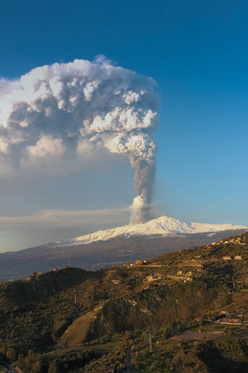 Sky Environment Smoke - Physical Structure Mountain Volcano Landscape Geology Scenics - Nature Beauty In Nature Cloud - Sky Erupting Land Day Nature Emitting No People Non-urban Scene Active Volcano Power Power In Nature Outdoors Air Pollution Volcanic Crater Pollution
