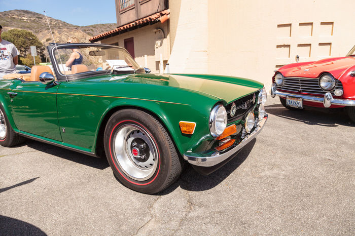Laguna Beach, CA, USA - October 2, 2016: Green 1972 Triumph TR6 owned by Robert Myer and displayed at the Rotary Club of Laguna Beach 2016 Classic Car Show. Editorial use. 1972 Car Car Show Classic Car Classic Car Show Collector's Car Day Laguna Beach Old Car Old-fashioned Outdoors Retro Styled Sports Car Triumph Triumph TR6 Vintage Car
