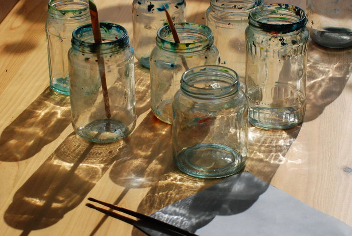 Close-up Focalpoint Micro Niikkor 70-180mm Pencil And Paper Pencils In Cups Sunlight And Shadow Table Waterpaint