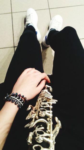 Monday Mondays Lesson Clarinet Clarinetist Clarinetswag Shoes White Shoes Blak And White Black Pants Legs Hand Playing Music Polishclarinet