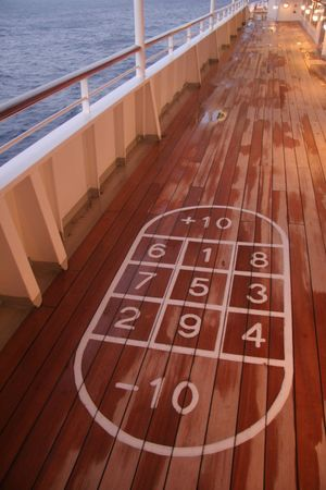 Close-up Communication Cruise Ship Day High Angle View No People Number Outdoors Sea Shuffle Board Water Wood - Material