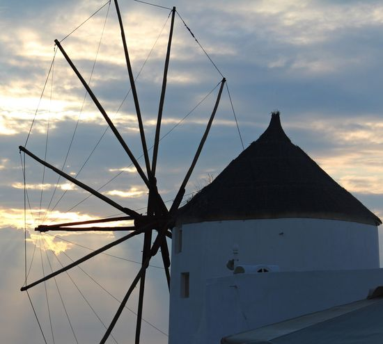Sunset Santorini Greece Sunsetinsantorini Sun Sky Mill Travel Picture Pic Shoot Shooting Photograph Photography Traveling Dailytrip Landscape Business Finance And Industry Cloud - Sky Architecture Outdoors Silhouette Tranquility No People Nature