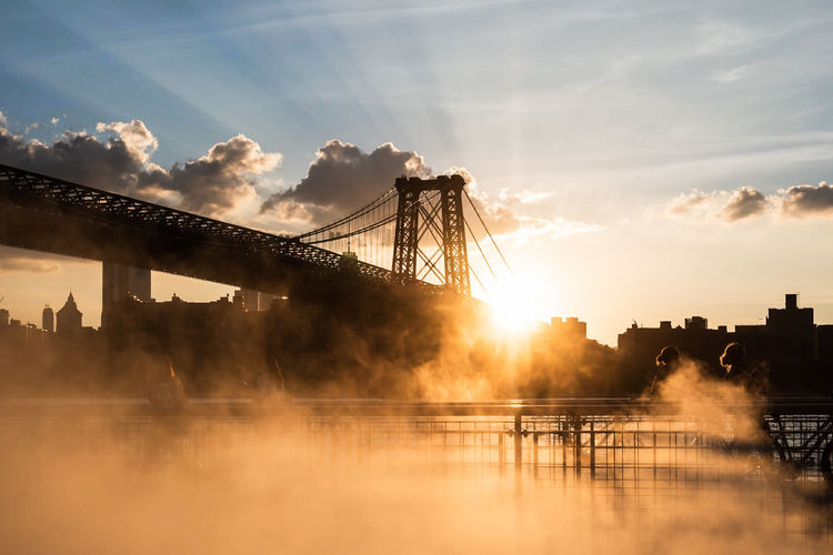 Misty Water City Sunset Fog Bridge - Man Made Structure Beauty Cityscape Reflection Silhouette #urbanana: The Urban Playground Summer In The City A New Perspective On Life Capture Tomorrow