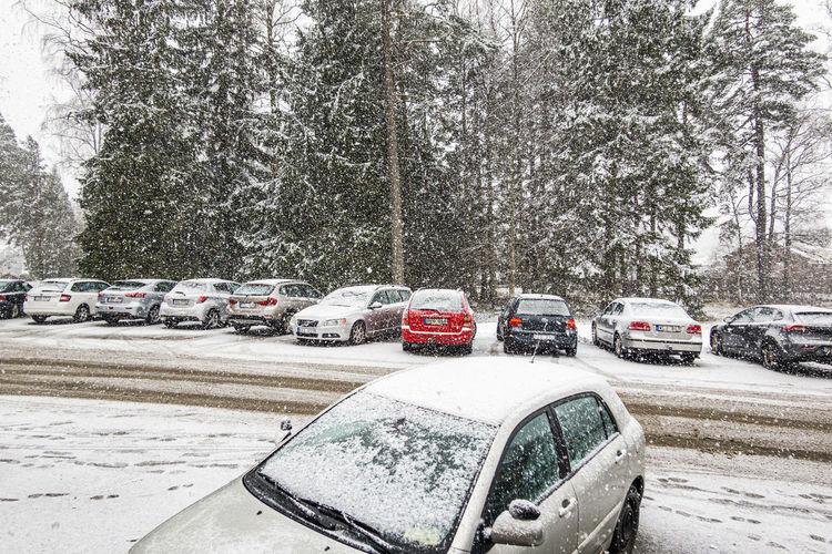 Cars on street in winter