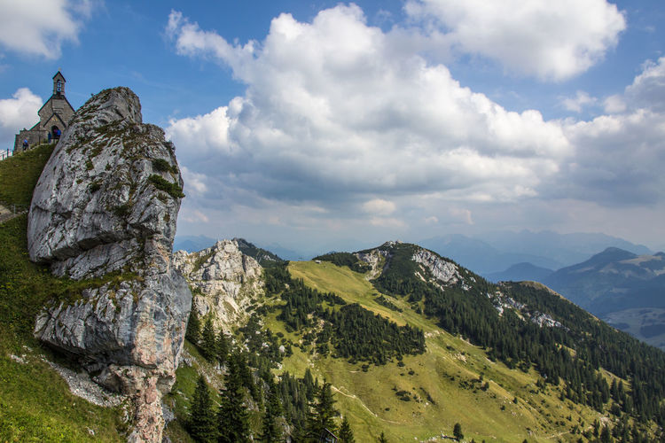 Church at Wendelstein, Bavarian Alps Alpen Church EyeEmNewHere Green Color Panorama Panoramic Rock Formation View Alps Bavarian Alps Beauty In Nature Cloud - Sky Landscape Mountain Nature No People Outdoors Religion Rock - Object Scenics Sky Tranquil Scene Tranquility Travel Destinations Tree