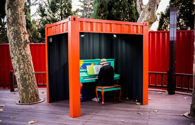 Alone Played Out ..  Men Play Piano Play The Music Red Seat Sitting