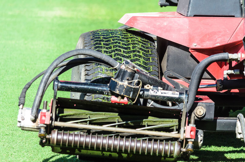 Close-up of tractor on field