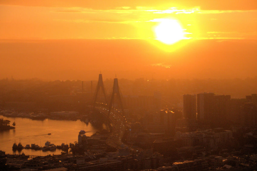 Anzac Bridge at sunset - Sydney ANZAC Bridge Architecture Beauty In Nature Bridge - Man Made Structure Built Structure City Cityscape Connection Day Nature No People Orange Color Outdoors River Sky Skyscraper Sun Sunbeam Sunlight Sunset Suspension Bridge Sydney Transportation Water