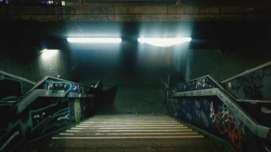 High angle view of staircase in subway