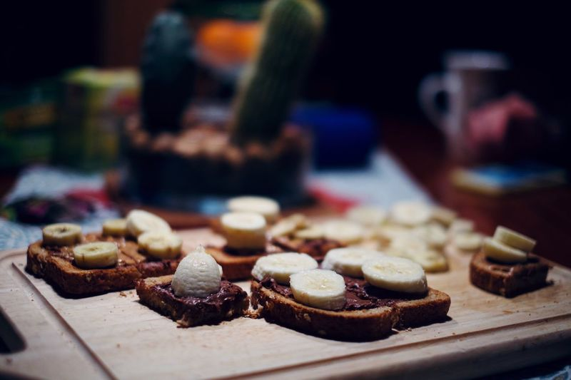 Banana-chocolate toast Food Food And Drink Sweet Food Sweet Indoors  Freshness My Best Photo Dessert Focus On Foreground Ready-to-eat No People Still Life Close-up Selective Focus Temptation Preparation  Domestic Room