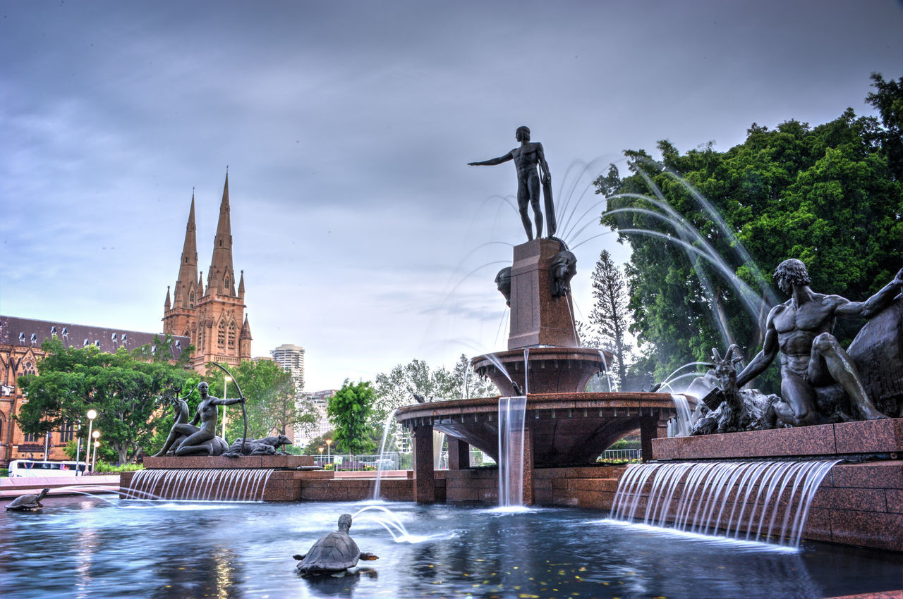 The Water Fountain in Hyde Park, Sydney, Australia. Australia Cathedral Fountain St Mary's Cathedral Statue Tranquility Beauty In Ordinary Things Hyde Park Long Exposure Man Made Object Park Sydney Travel Destinations Water Water Fountains