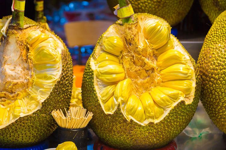 Jackfruit or jakfruit Asian  Freshness Close-up Cut Up Food Fruit Jackfruit Jakfruit Organic