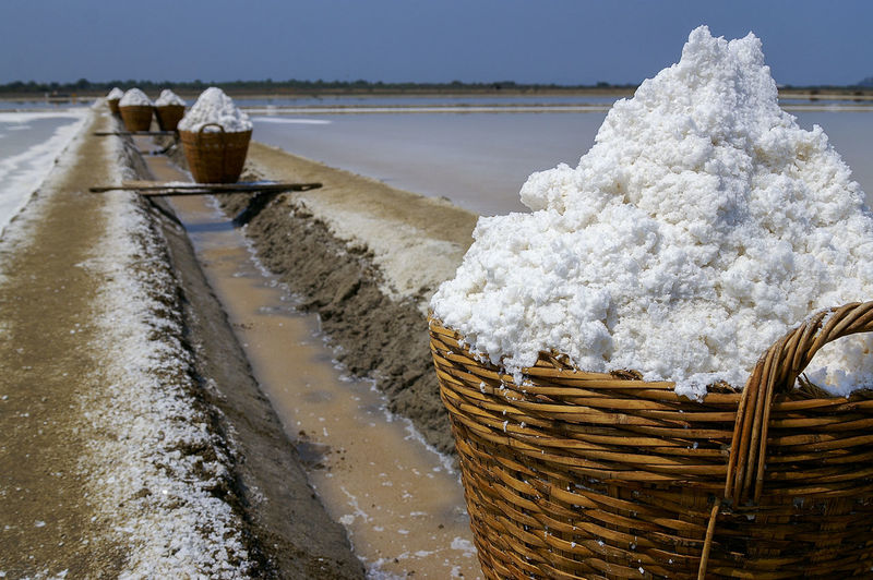 Salt in the bamboo basket on the ground near salt pan, Thailand Salt Salt Pan Bamboo Basket Basket Container Food And Drink Heap Mineral Nature Outdoors Salt - Mineral Salt Flat Sea Salt Sea Salt Farm Sea Salt Field Sea Salt Mineral Sea Salt Seasoning Water White Color Wicker