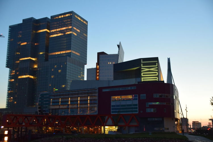 Architecture Blue Building Building Exterior Built Structure City City Life Day Development Exterior Illuminated Low Angle View Luxor Modern Nhow Nieuw Luxor No People Office Building Outdoors Rotterdam Sky Tall Tall - High Hidden Gems