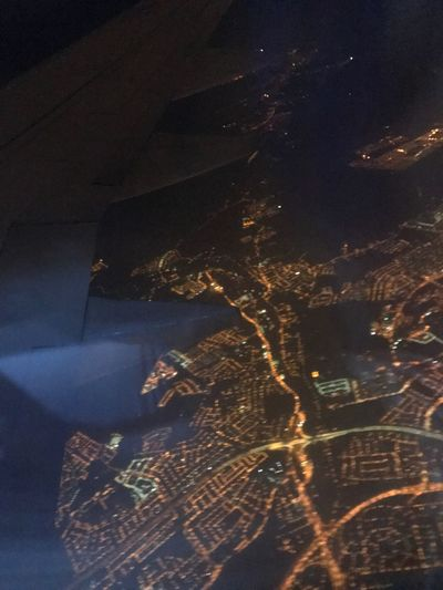 Arial view of Malaysia Night Illuminated High Angle View