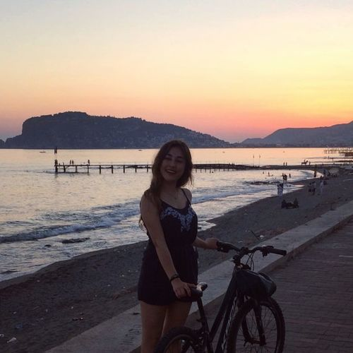 Sunset Bicycle Portrait Water Cycling One Woman Only Beach Sea One Person Only Women Adult People Adults Only Outdoors Beauty Smiling Beauty In Nature Nature Vacations Scenics Alanya/Turkey Tb Alanya Sea And Sky Seascape