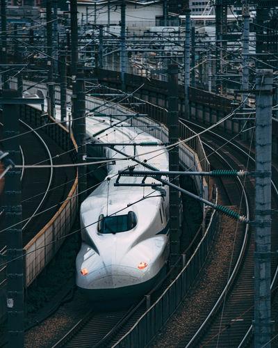 High angle view of train on railroad station platform