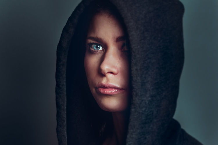 Adult Adults Only Beautiful Woman Close-up Hood - Clothing Hooded Shirt Human Body Part Human Face Indoors  One Person People Portrait Real People Studio Shot Women Young Adult Young Women The Portraitist - 2017 EyeEm Awards The Portraitist - 2017 EyeEm Awards EyeEm Selects